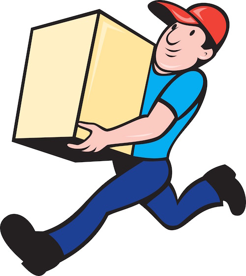 Delivery person worker running delivering box fJSS n8