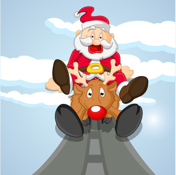 Funny santa coming on reindeer Qk6X3
