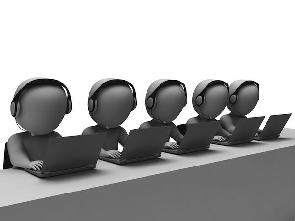 Helpdesk hotline operators showing call center zJ4INMv